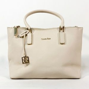 CALVIN KLEIN Ivory White Leather Zipper Bag Purse
